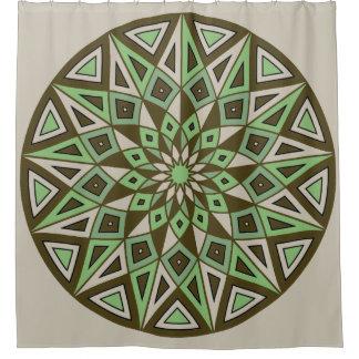咲く曼荼羅: 幾何学的な円 シャワーカーテン