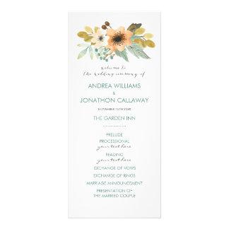咲く水彩画の結婚式プログラム ラックカード