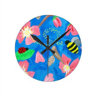 咲く美しい ラウンド壁時計