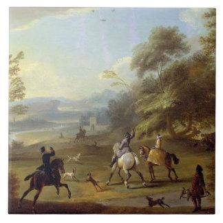 咳払いで出すパーティー、c.1690 (キャンバスの油) タイル