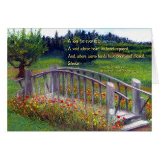 哀悼の言葉の歩道橋、花及び俳句のてんとう虫Ln カード