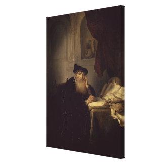 哲学者1635年(パネルの油) キャンバスプリント
