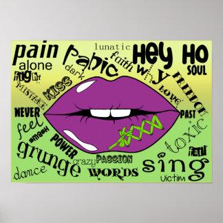 唇および単語ポスター紙(無光沢) ポスター