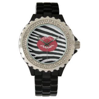 唇のキスのファッションのガーリーで粋な魅力のシマウマ 腕時計