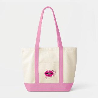 唇のキスのファッションの魅力の粋でガーリーなピンク トートバッグ