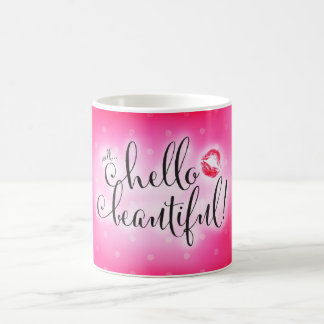 唇のコーヒー・マグとの311の井戸のこんにちは美しいピンク コーヒーマグカップ