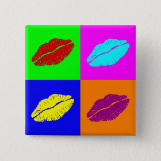 唇のボタン 5.1CM 正方形バッジ