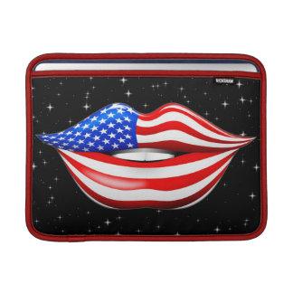 唇のMacBookの微笑の袖の米国の旗の口紅 MacBook スリーブ