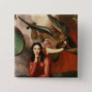 善悪: 若い女性、1を誘惑している悪魔 5.1CM 正方形バッジ