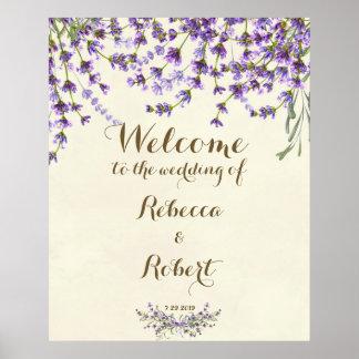 喜ばしい徴候のアイボリーのラベンダーの紫色の花柄の結婚 ポスター