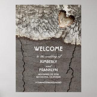 喜ばしい徴候を結婚する素朴な木製のハート ポスター