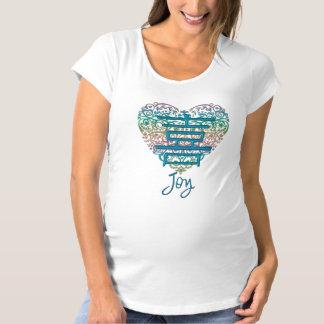 喜びのためのハートそして漢字があるお母さん マタニティTシャツ