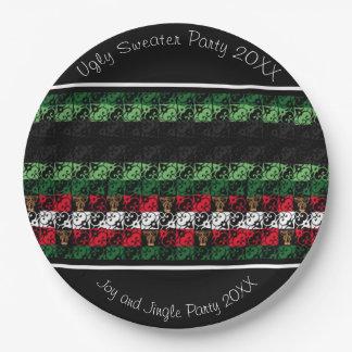 """喜びのジングルの醜いセーターのパーティー9""""紙皿 ペーパープレート"""