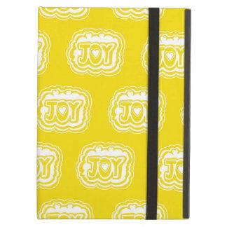 喜びのタイポグラフィの黄色および白いiPadの箱 iPad Airケース