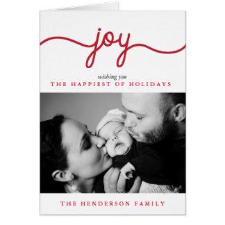 喜びのモダンな原稿のクリスマスの写真の挨拶状 グリーティングカード