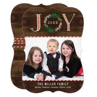 喜びのリースの休日の写真カードクリスマスカード カード