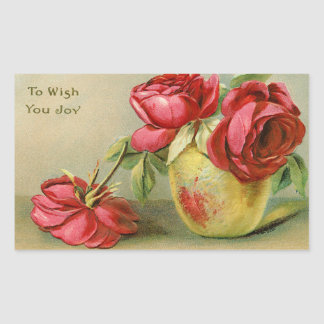 喜びのヴィンテージの花柄のステッカーを望むため 長方形シール