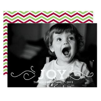 喜びの休日の写真カード-シェブロンの両面機 カード