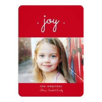 喜びの休日の写真カード|単に赤 12.7 X 17.8 インビテーションカード