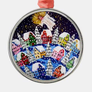 喜びの円形の組み立てられた休日のオーナメントの天使 シルバーカラー丸型オーナメント