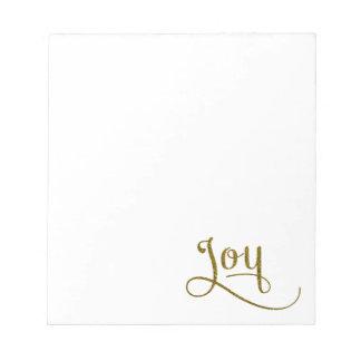 喜びの原稿の金ゴールドのグリッター ノートパッド