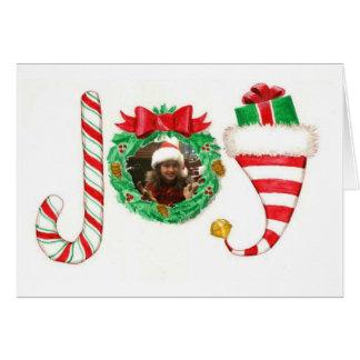 喜びの名前入りな写真のクリスマスカード カード