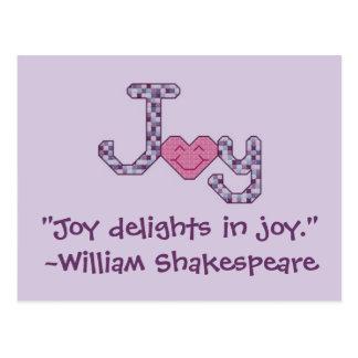 """""""喜びの喜び歓喜""""。 ~ウィリアム・シェイクスピアPostca ポストカード"""