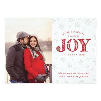 喜びの妊娠の発表のクリスマスの期待 カード