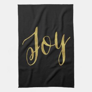 喜びの引用文の模造のな金ゴールドホイルのグリッターの背景 キッチンタオル
