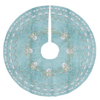 喜びの水の円の真珠のクリスマスの天使 ブラッシュドポリエステルツリースカート