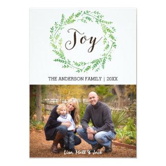 喜びの水彩画のリースのクリスマスカード カード