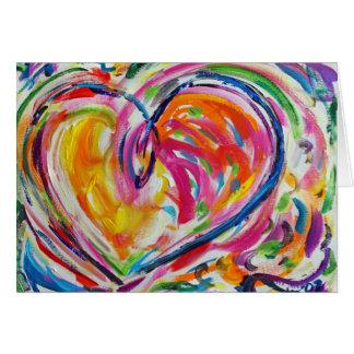喜びの絵画のカスタムな芸術の挨拶状のハート グリーティングカード