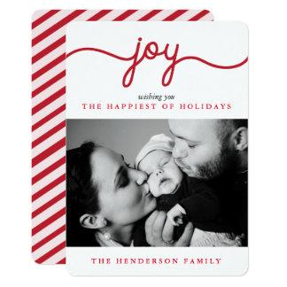 喜びの赤くモダンな原稿のクリスマスの写真カード カード
