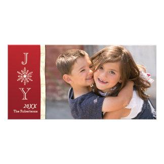 喜びの雪片の写真のクリスマスカード カード