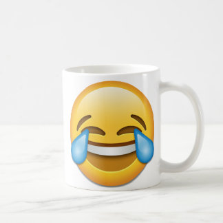 喜びのemojiの権利の破損が付いている顔 コーヒーマグカップ