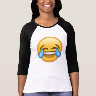 喜びのemojiの破損が付いている顔 tシャツ