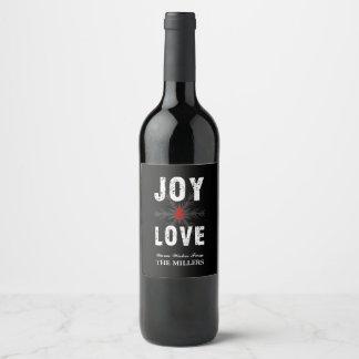 喜び及び愛原稿のクリスマス の休日 ワインラベル