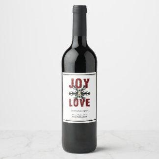 喜び及び愛原稿の赤いホワイトクリスマスの休日 ワインラベル