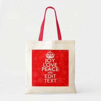 喜び愛平和およびあなたの文字の赤いアクセントの雪片 トートバッグ