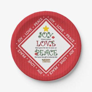 喜び愛平和クリスチャンのクリスマス ペーパープレート