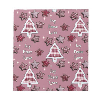 喜び、平和、愛! ピンク ノートパッド