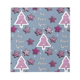 喜び、平和、愛! 青い ノートパッド