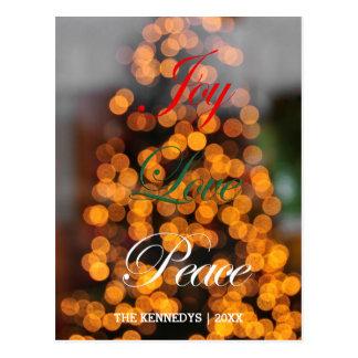 喜び、愛、平和-木のライトの抽象芸術 ポストカード