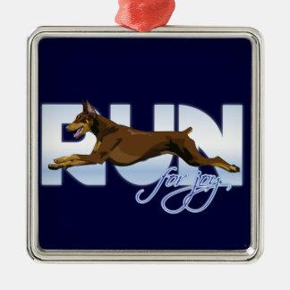 喜び、赤いドーベルマン犬のための操業 メタルオーナメント