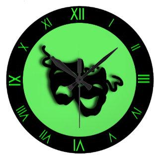 喜劇および悲劇のネオン緑の劇場の柱時計 時計