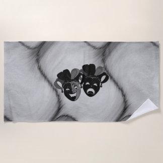 喜劇および悲劇の劇場のこっけい者のマスクの銀 ビーチタオル