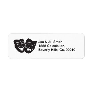 喜劇の悲劇の戯曲劇場のマスク ラベル