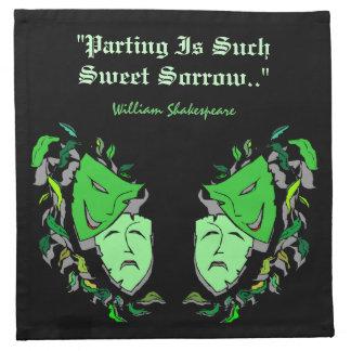 喜劇及び悲劇のマスクのシェークスピアのカクテルのナプキン ナプキンクロス
