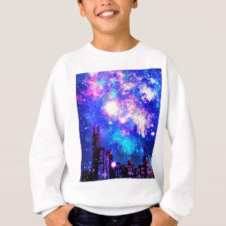 喜劇的なスタイル都市スカイライン及び銀河の夜空 スウェットシャツ