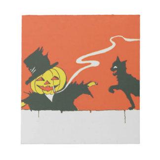 喫煙のかかしのジャックOのランタンの黒猫 ノートパッド